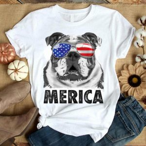 English Bulldog 4th Of July Merica Men American Flag Shirt
