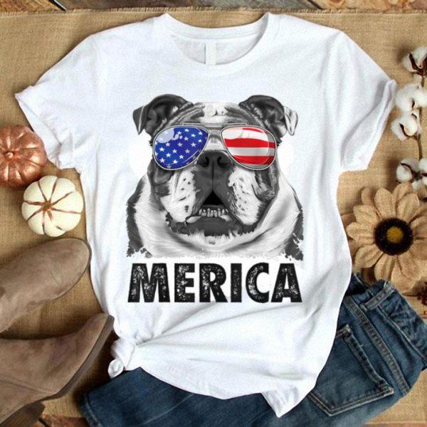 English Bulldog 4th Of July Merica Men American Flag Shirt