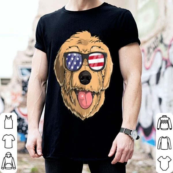Golden doodle Dog Patriotic USA 4th of July American Flag shirt