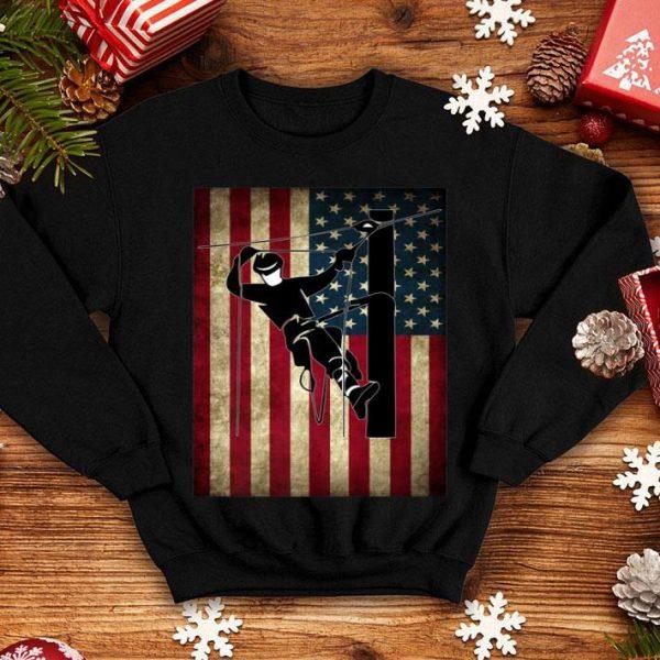 Lineman American Flag USA Patriotic Lineman shirt