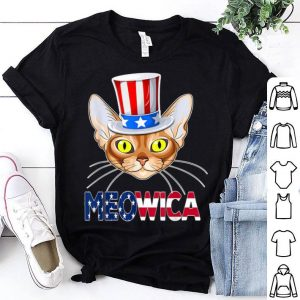 Meowica 4th Of July Abyssinian Cat Usa American Flag Shirt