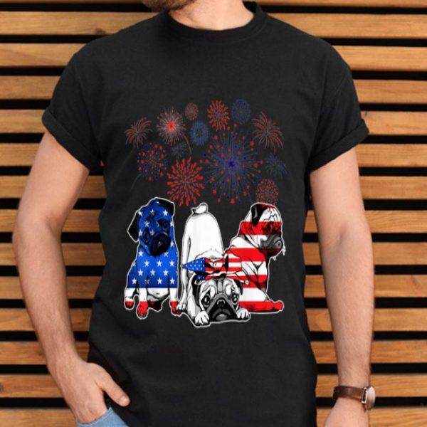 Pugs 4th Of July America Flag Firework Happy Independence Day shirt