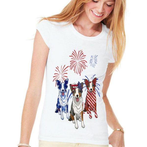 Red White Blue Australian Shepherd 4th Of July shirt