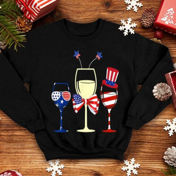 Red White Blue Wine Glasses American Flag 4th Of July Shirt
