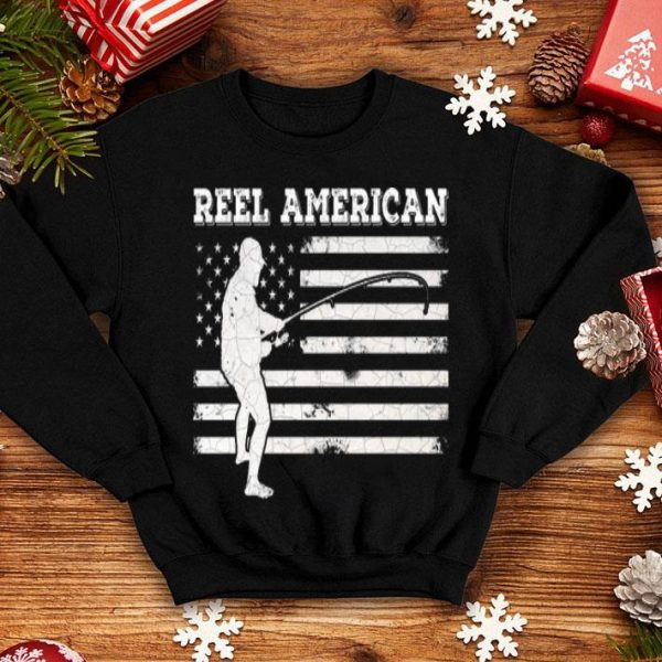 Reel American Fishing Man American Flag Shirt