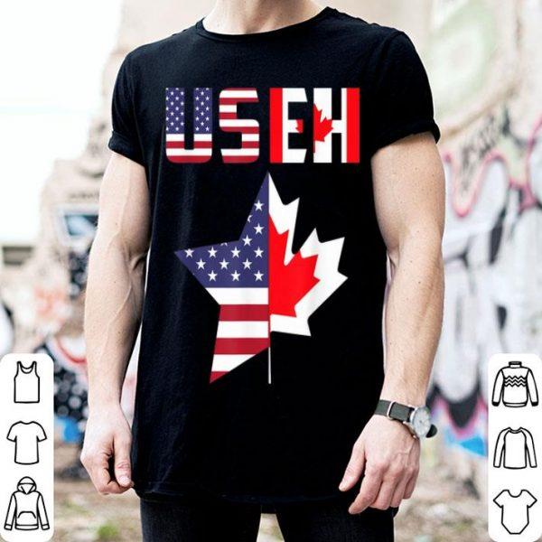 USEH Leaf Canadian American Flag Canada USA Flag shirt
