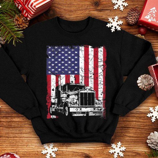Vintage Truck Driver American Flag Trucker shirt