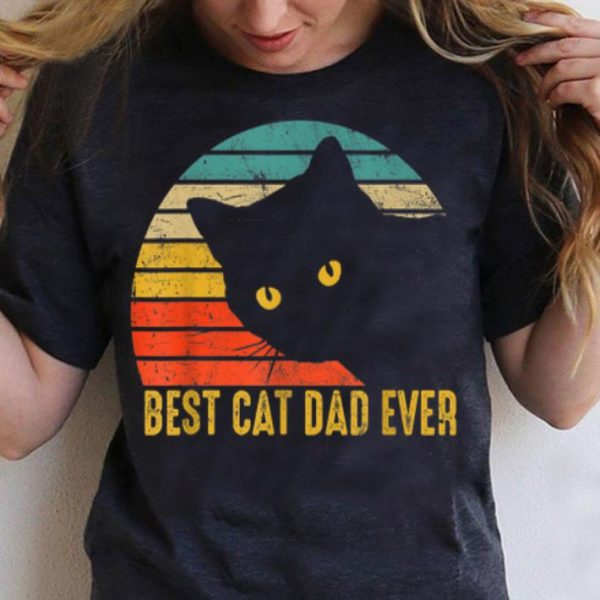 Best Cat Dad Ever Retro Vintage Cat Daddy Fathers Day shirt