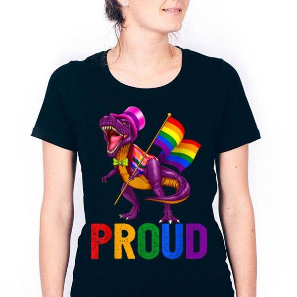 Dinosaur T Rex LGBT Gay Pride Gift Flag shirt