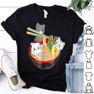 Great Kawaii Japanese Anime Cat Noodle Bowl Noodle Pool Party shirt