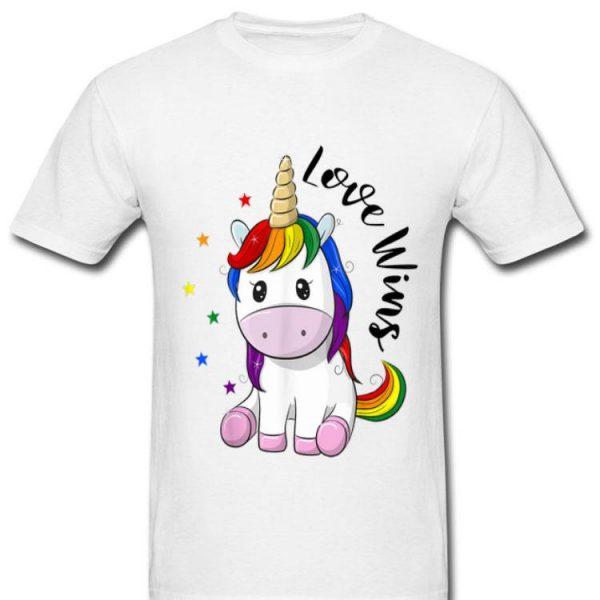 Love Wins LGBT Gay Lesbian Pride Month Rainbow Unicorn shirt