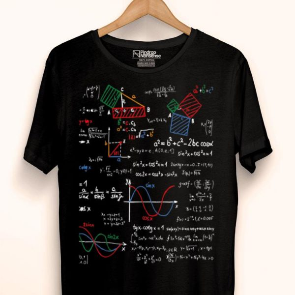 Math Teacher Formulas Cheat Sheet Cool Geek Nerd shirt