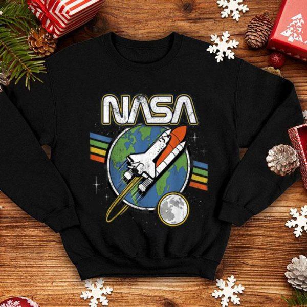 NASA Blast Off Retro Rainbow Stripes 50th Year Anniversary Apollo 11 shirt