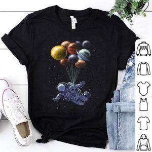 Space Travel Tri-blend Astronaut Fly By Planet Balloons shirt