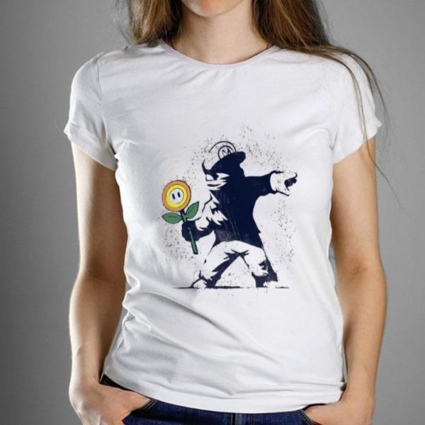 Supper Mario Banksy Flower Make Love Not War shirt