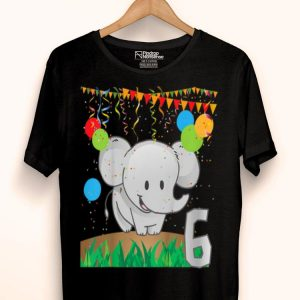 Youth Sixth Birthday Elephant 6 Six Years Old shirt