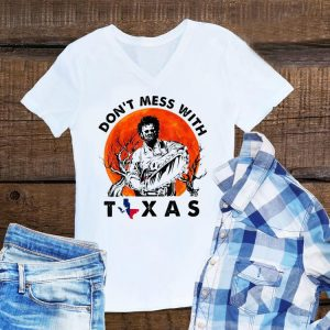 Awesome Leatherface Don't Mess With Vintage Texas Halloween Sunset shirt