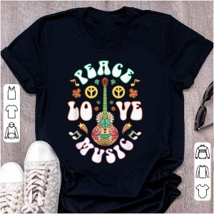 Awesome Peace Love Music Guitar Hippies Retro