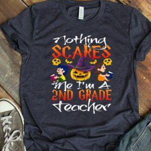 Funny Teacher 2nd Grade Hat Witch Pumpkin Funny Halloween shirt