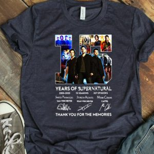 Hot 15 Years Of Supernatural Thank For The Memories Signature shirt