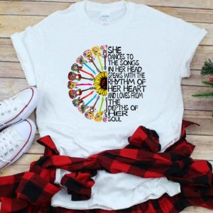 Hot She Dance To The Song In Her Head Speaks With The Rhythm Of Heart Heart Guitar Hippie Sunflower shirt