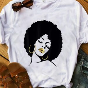 Nice Afro Diva Black Girl Magic Gold Lips shirt