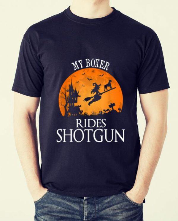 Original Boxer Rides Shotgun Dog Lover Halloween Party Gift shirt
