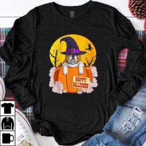 Original Happy Halloween English Bulldog Pumpkin Witch shirt
