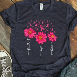 Premium Faith Hope Love Pink Ribbon Daisy Flower Breast Cancer shirt