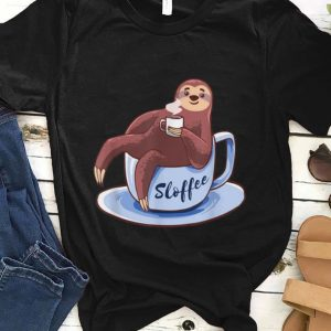Premium Sloffee Sloth Lying On A Cup Of Coffee Sloffee Meme shirt