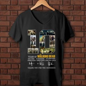 Pretty 10 Years Of The Walking Dead Thank You For The Memories Signature shirt