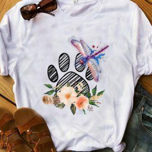 Pretty Dragonfly Paw Dog Flower shirt