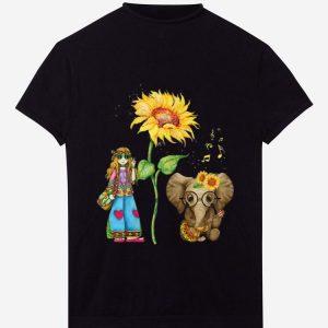 Pretty Hippie Girl Sunflower Elephant Guitar shirt
