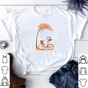 Snoopy riding bicycle autumn tree shirt sweater