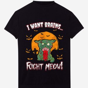 Top Halloween Zombie Cat Kitten Funny Humor Kids Boys Girls Gift shirt