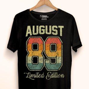 Vintage 30th Birthday August 1989 Sports Jersey shirt