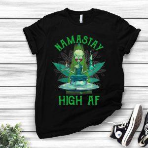 Alien Yoga Namastay High AF UFO And Weed shirt