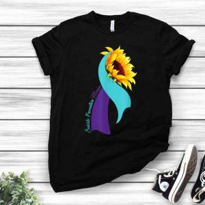 Blue & Purple Ribbon Sunflower Suicide Prevention Warrior shirt