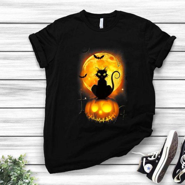 Black Cat On Pumpkin Halloween Moon Costume shirt