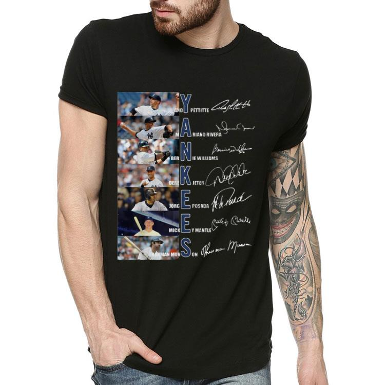 4 16 - Yankees Derek Jeter Jorge Posada Mickey Mantle Signatures shirt
