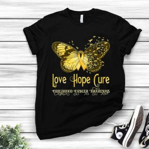 Gold Ribbon Butterfly Love Hope Cure Childhood Cancer Awareness shirt