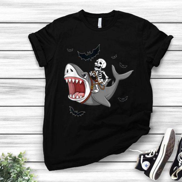 Halloween Skeleton Riding Shark shirt