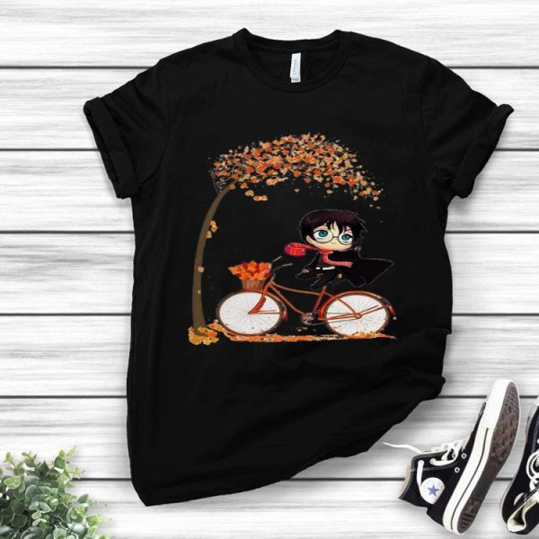 Harry Potter Chibi Riding Bicycle Autumn Leaf Tree shirt