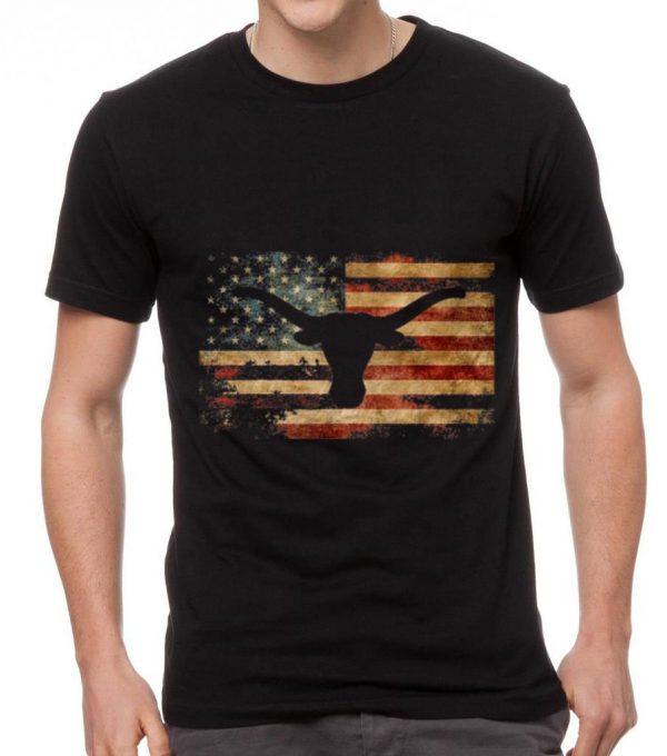 Official Vintage American Flag Longhorn shirt