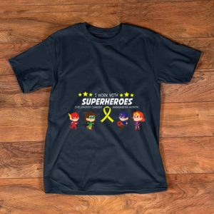 Pretty I work with superheroes Childhood cancer awareness shirt