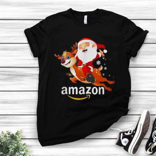 Amazon Christmas Santa Claus Riding Reindeer shirt