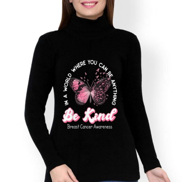 Be Kind Pink Ribbon Butterfly Breast Cancer Awareness shirt