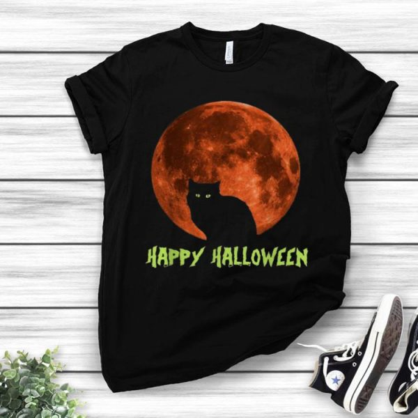 Black Cat On The Moon Happy Halloween shirt