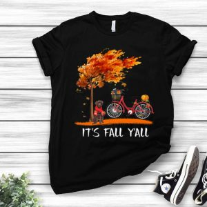 Chocolate Labrador Bike It's Fall Y'all Pumpkin Thanksgiving shirt