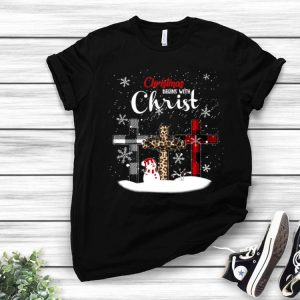 Christmas Begins With Christ Snowman With Christian Cross shirt